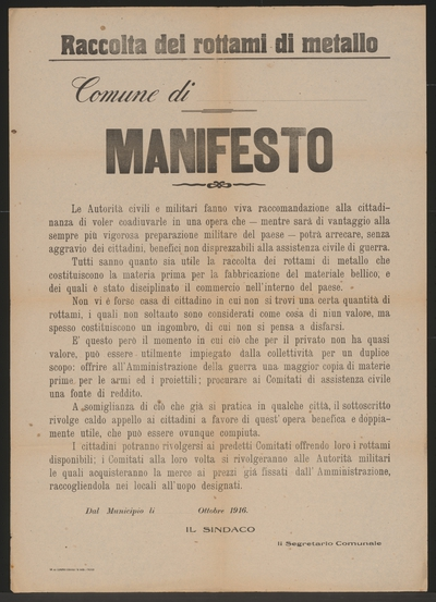 Sammlung Von Metallschrott Vordruck Plakat In Italienischer Sprache