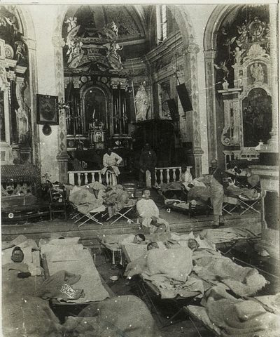 Image from object titled Kirche in Sutta als Feldspital, 14.11.1915.