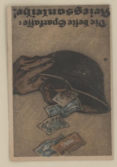 Feldpostkarte - Die beste Sparkasse - Kriegsanleihe - Kleinstgrafik