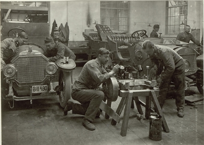 Image from object titled Motor car workshop at the cellulose factory in Villach