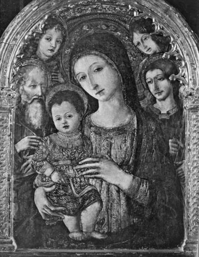 Madonna mit Kind zwischen Heiligen und Engeln