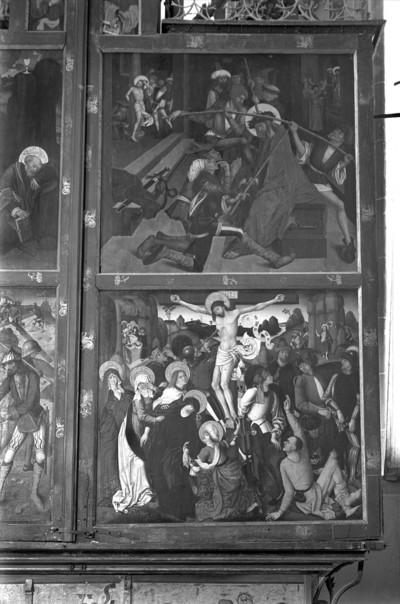 Altar im geschlossenen Zustand — Vier Szenen aus der Passion Christi — Rechter Altarflügel: Dornenkrönung und Kreuzigung