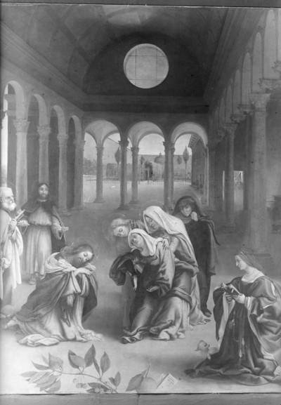 Zwei Szenen aus dem Leben Christi mit Stifterehepaar — Christi Abschied von seiner Mutter
