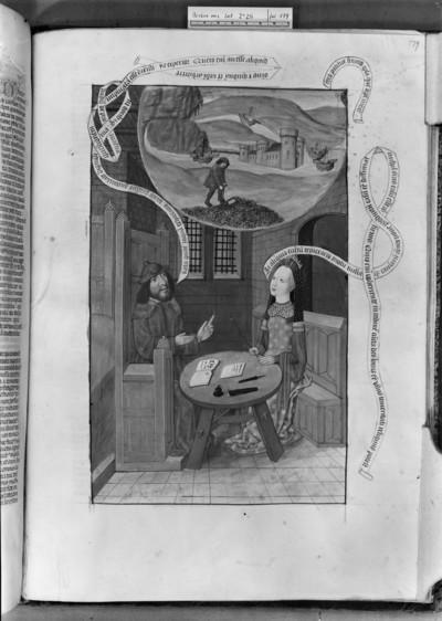 Martianus Capella, De nuptiis und Boethius, De consolatione philosophiae mit Kommentar — Boethius im Gefängnis, Folio 179recto