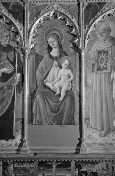 Altaraufsatz: Madonna zwischen Heiligen — Mitteltafel: Thronende Madonna