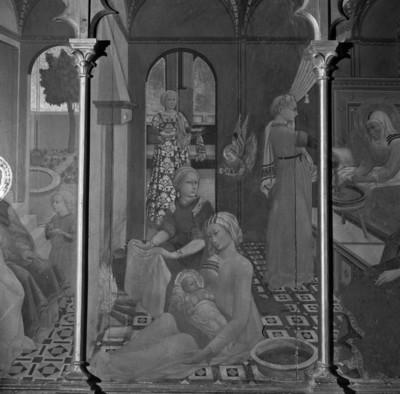 Altaraufsatz mit Szenen der Mariengeschichte — Hauptbild: Mariä Geburt