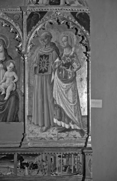 Altaraufsatz: Madonna zwischen Heiligen — rechte Tafel: die Heiligen Bernhardin von Siena und Margareta