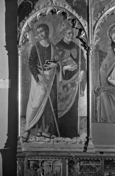 Altaraufsatz: Madonna zwischen Heiligen — linke Tafel: die Heiligen Jakobus und Augustinus