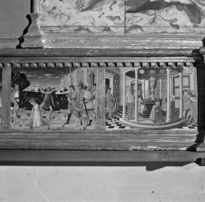 Altaraufsatz: Madonna zwischen Heiligen — Predella — Enthauptung der heiligen Katharina