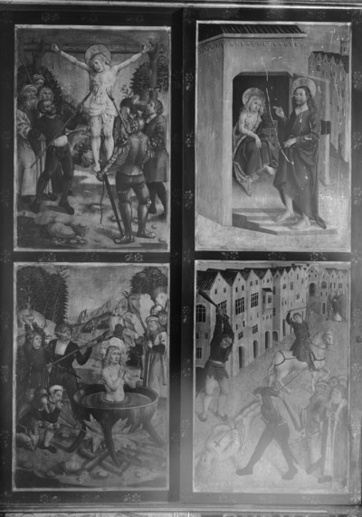 Geschlossener Zustand: linker Standflügel und Innenseite des linken Innenflügels. Bild unten links: Marter des heiligen Georg. Heiliger Georg unversehrt in einem Kessel mit siedendem Blei.