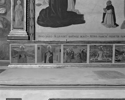 Maria mit Kind und acht Heiligen — Maria mit Kind und Heiligen: Rahmen — Predella
