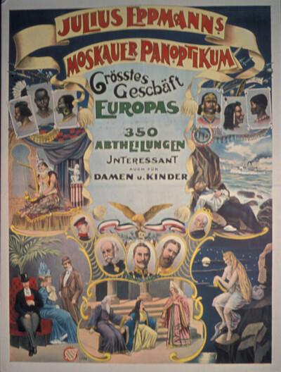 Eppmanns Moskauer Panoptikum, Russisches Wachsfigurenkabinett, zu sehen im Frühjahr 1899 in der Kaiserstraße 71