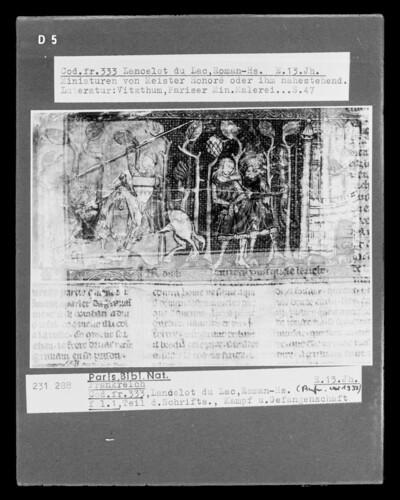 Lancelot du Lac, fol. 1, Kampf und Gefangenschaft