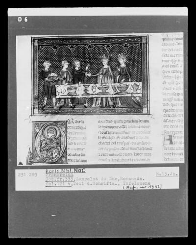 Lancelot du Lac, fol. 121v, Tafelszene