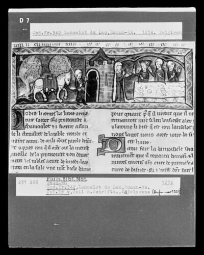 Lancelot du Lac, fol. 58v, Tafelszene