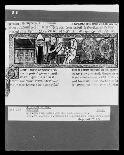 Lancelot du Lac, fol. 85v, Lanzelot beim Eremiten