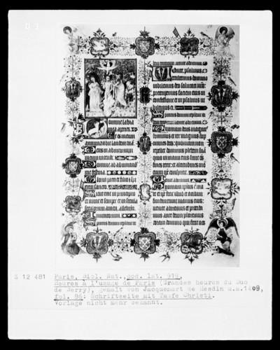 Grandes Heures des Herzogs von Berry — Textseite mit der Taufe Christi, Folio 86 recto