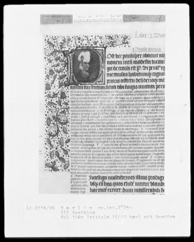 Martianus Capella, De nuptiis und Boethius, De consolatione philosophiae mit Kommentar — Initiale P(ost hec) mit Teilbordüre, Folio 106verso