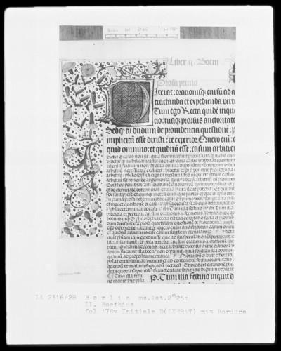 Martianus Capella, De nuptiis und Boethius, De consolatione philosophiae mit Kommentar — Initiale D(ixerat), Folio 178verso