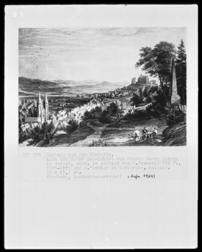 Ansicht Marburgs von Nordwesten, von der Augustenruhe
