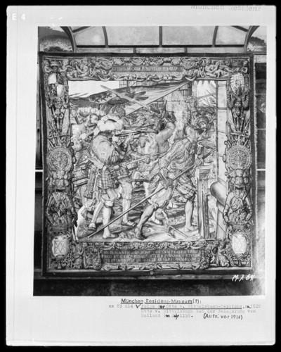 Folge der Otto-von-Wittelsbach-Teppiche: Otto von Wittelsbach bei der Belagerung von Mailand im Jahre 1158