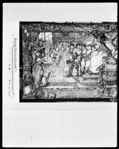 Folge der Otto-von-Wittelsbach-Teppiche: Otto von Wittelsbach als Vertreter Barbarossas vor dem Papst im Jahre 1159