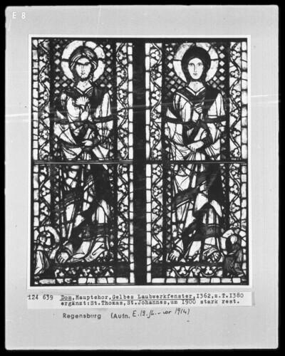 Fenster H I, Gelbes Laubwerkfenster. Felder: Sankt Thomas und Sankt Johannes