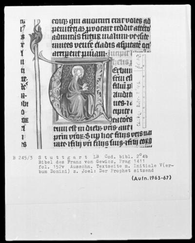 Lateinische Bibel in zwei Bänden für Franz von Gewicz — Initiale V (erbum domini) mit dem Propheten Joel, Folio 152verso