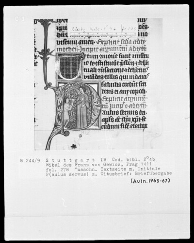 Lateinische Bibel in zwei Bänden für Franz von Gewicz — Initiale P (aulus servus) mit Briefübergabe, Folio 278recto