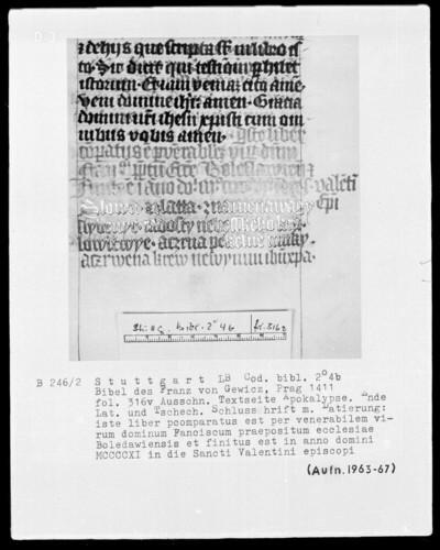 Lateinische Bibel in zwei Bänden für Franz von Gewicz —