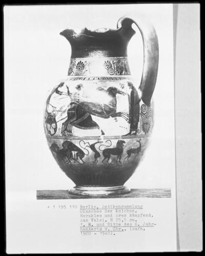 Oinochoe des Kochos — Herakles und Ares im Kampf