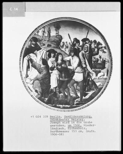 Zyklus mit Darstellungen zur Geschichte Josephs von Ägypten — Joseph wird von den Brüdern in die Grube gestoßen (Josephs Rock wird von den Brüdern mit Ziegenblut bestrichen)