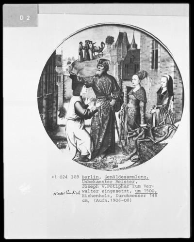 Zyklus mit Darstellungen zur Geschichte Josephs von Ägypten — Joseph wird von Potiphar, Pharaos Kämmerer und Hofmeister, zum Verwalter eingesetzt (Joseph wird von den Ismaelitern an Potiphar verkauft)
