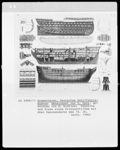 Schnitte und Risse eines Kriegsschiffs mit drei Kanonendecks (Linienschff, 18. Jh.)