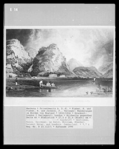 Wanderungen im Norden von England, Band 1 — Bildseite gegenüber Seite 40 — Derwent Water, and Lowdore, Cumberland.
