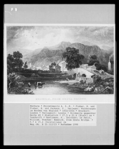 Wanderungen im Norden von England, Band 1 — Bildseite gegenüber Seite 48 — Keswick, from Greta Bridge.