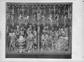 Taufe der heiligen Dimpna (Dymphna) und Tod der Mutter (linker Seitenflügel, innen)