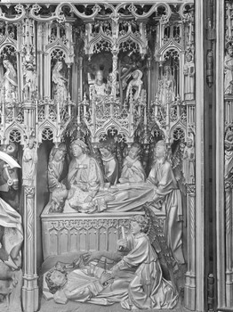 Die tote Dimpna (Dymphna) wird von Engeln betreut (innen, 7. Feld)