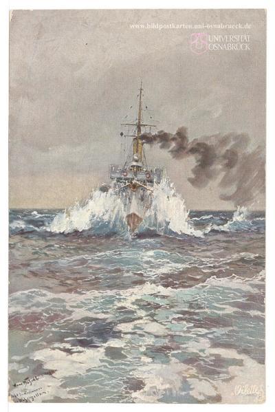 """Der kleine Kreuzer """"Niobe"""" in grober See als Begleitschiff der Kaiserlichen Jacht """"Hohenzollern"""" [R]"""