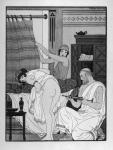 Hippocrate s'apprêtant à administrer un lavement à une femme