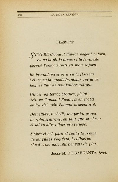 Image from object titled Fragment [Poemes de Leopardi]