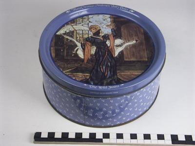 Trommel voor Kjeldsens met afbeelding van sprookje wilde zwanen van Hans Christiaan Andersen