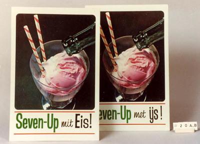 Image from object titled reclameplaat voor Seven-up met ijs met afbeelding ijscoupe