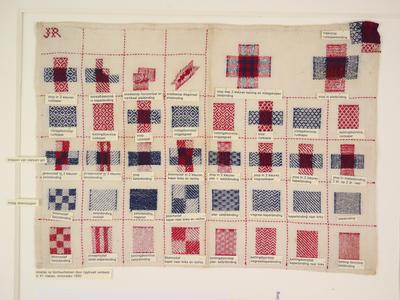 Stoplap met 36 vierkantjes met voorbeelden van div. stoppen in rood en blauw. op aangehechte briefjes staan de benamingen van de stoppen en bindingen.
