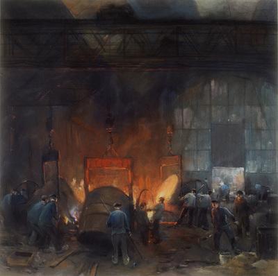 Image from object titled Pasteltekening van de ijzergieterij Nering Bögel te Deventer, Gieterijhal met werkende mannen