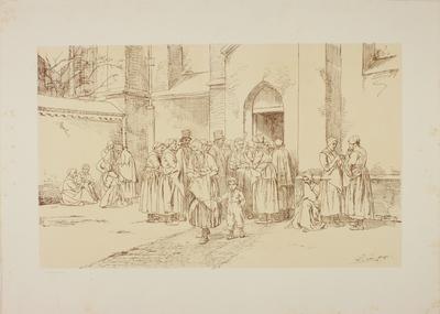 Een groep kerkbezoekers bij de zij-ingang van een kerk