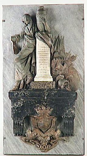 maquette de sculpture ; La Douleur tenant un médaillon à l'effigie de Charles Guy de Valory (mort en 1734), lieutenant général des armées du roi