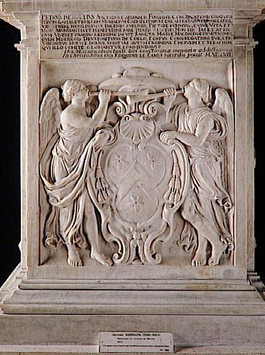 statue ; priant ; partie d'ensemble ; Deux Renommées tenant un écusson aux armes du cardinal de Bérulle, au-dessus épitaphe (face antérieure) ; Le Sacrifice de Noé (face latérale à droite) ; La Messe de saint Philippe Néri...