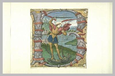 La lettre B historiée, avec saint Michel combattant le dragon