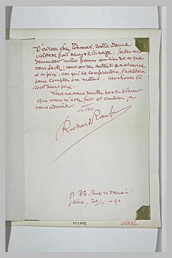 lettre (autographe) ; album ; 20 novembre 1890, Paris, de Richard Raub à Schuffenecker
